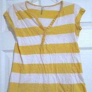 Rue21 Yellow & White Striped V-Neck S/S Tee Sz L